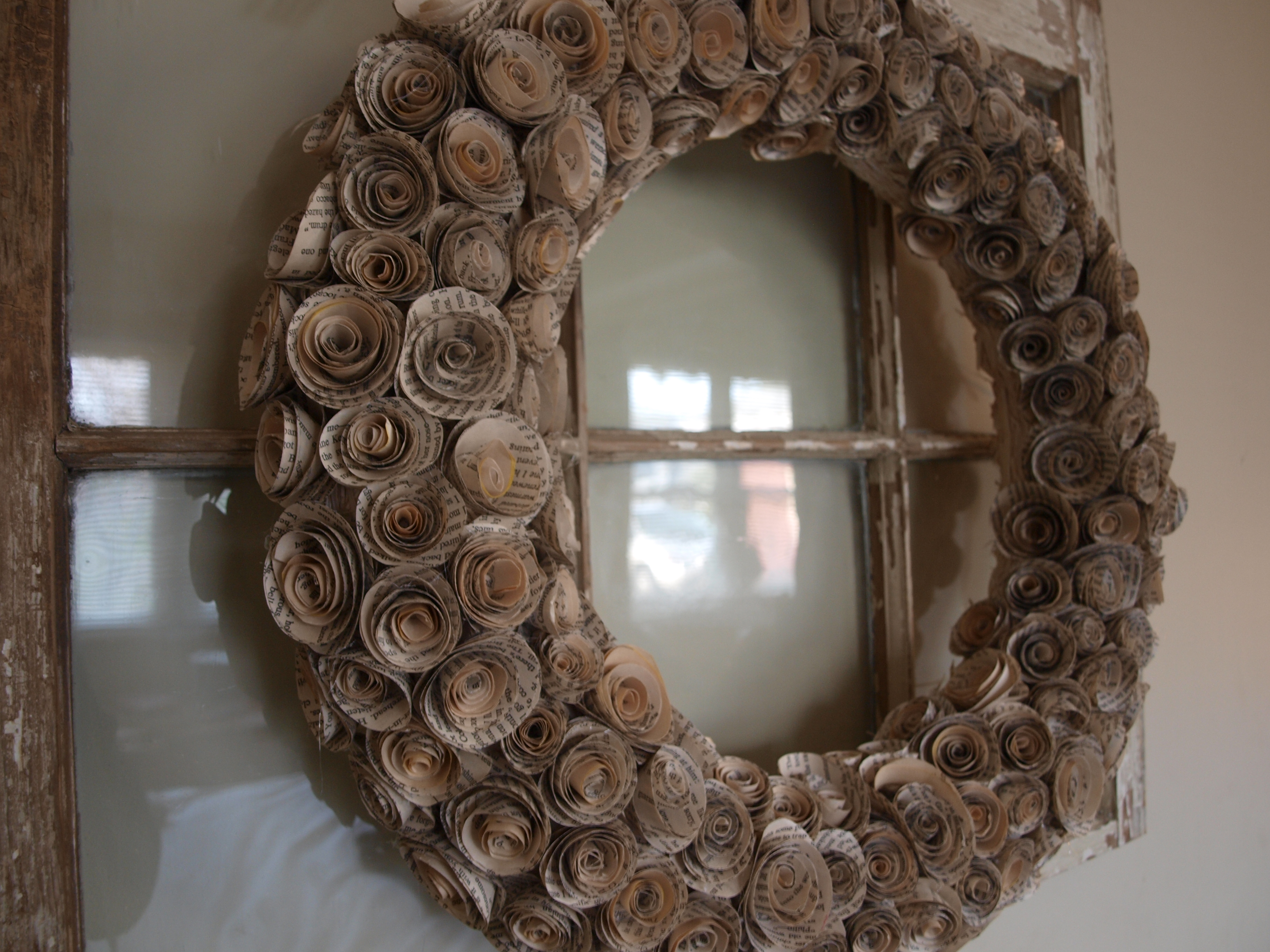 How To Make A Book Page Rose Wreath Home Spun Style