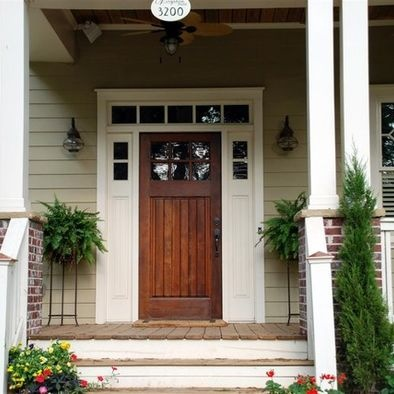 Tan house on pinterest house black shutters and colors - Black craftsman front door ...