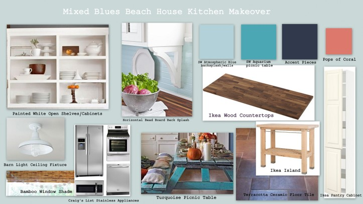 Mixing blues in a beach house kitchen makeover home spun for Beach house kitchen plans