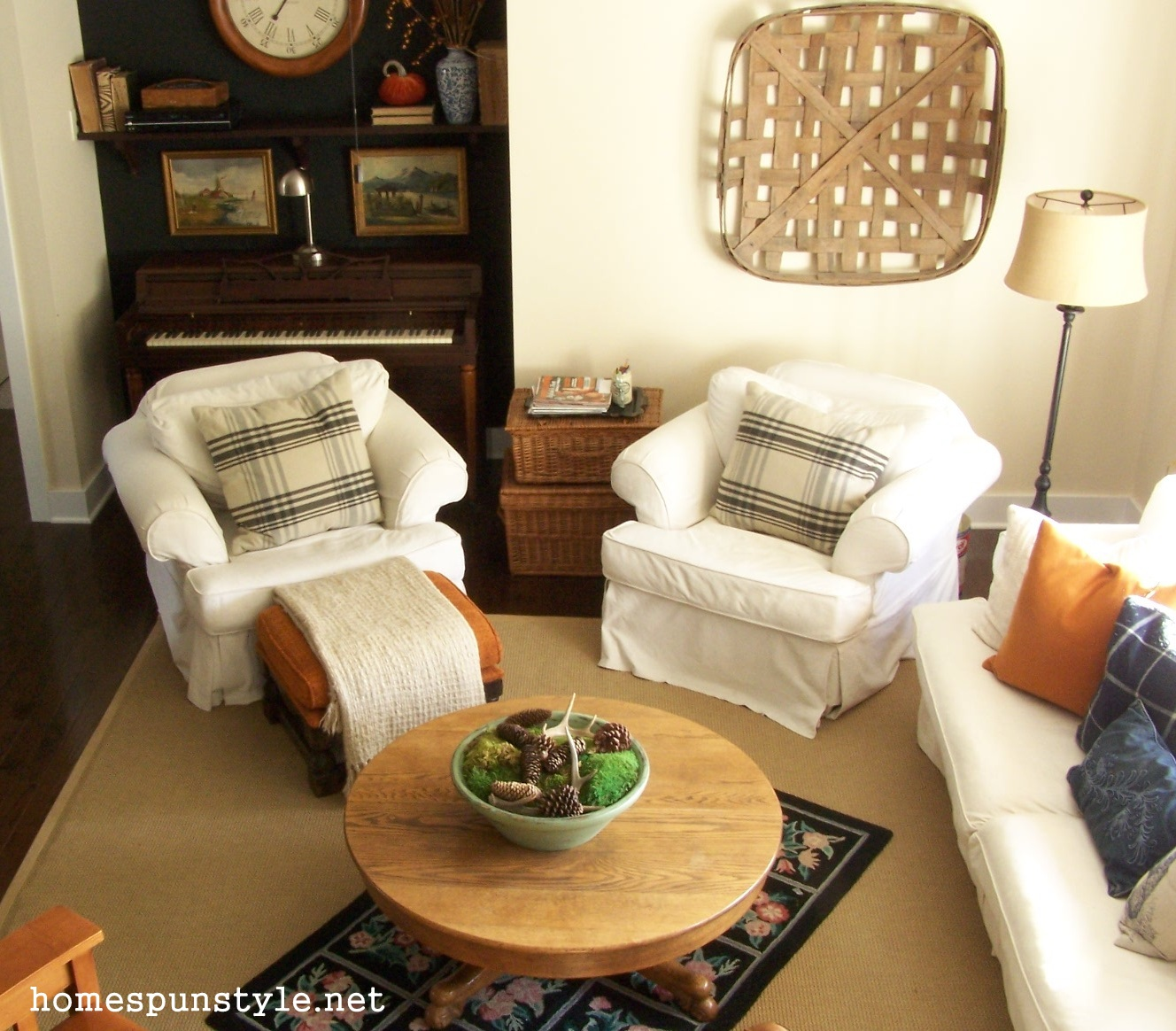 Fall Decorating Living Room And Layered Rugs Home Spun
